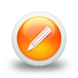 105385 3d glossy orange orb icon business pencil7 sc49